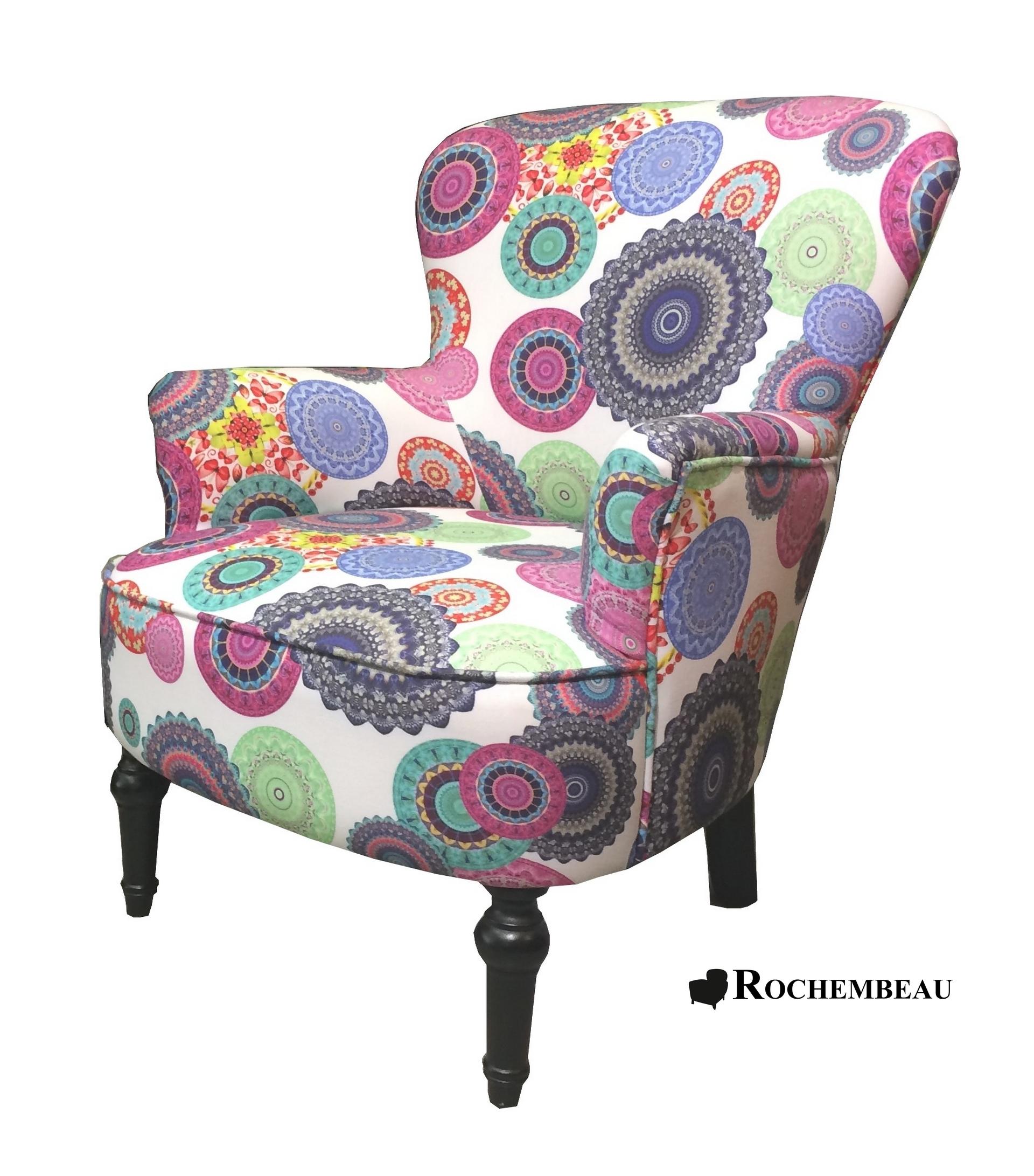 Fauteuil crapaud tissu fleuri avec accoudoirs - Comment recouvrir un fauteuil crapaud ...