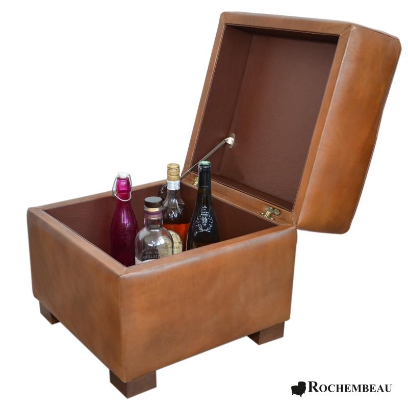 pouf carr coffre de rangement pouf bar en cuir. Black Bedroom Furniture Sets. Home Design Ideas