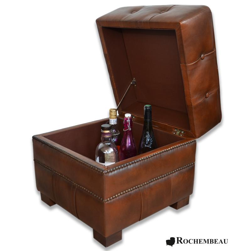 pouf carr coffre de rangement pouf bar capitonn. Black Bedroom Furniture Sets. Home Design Ideas