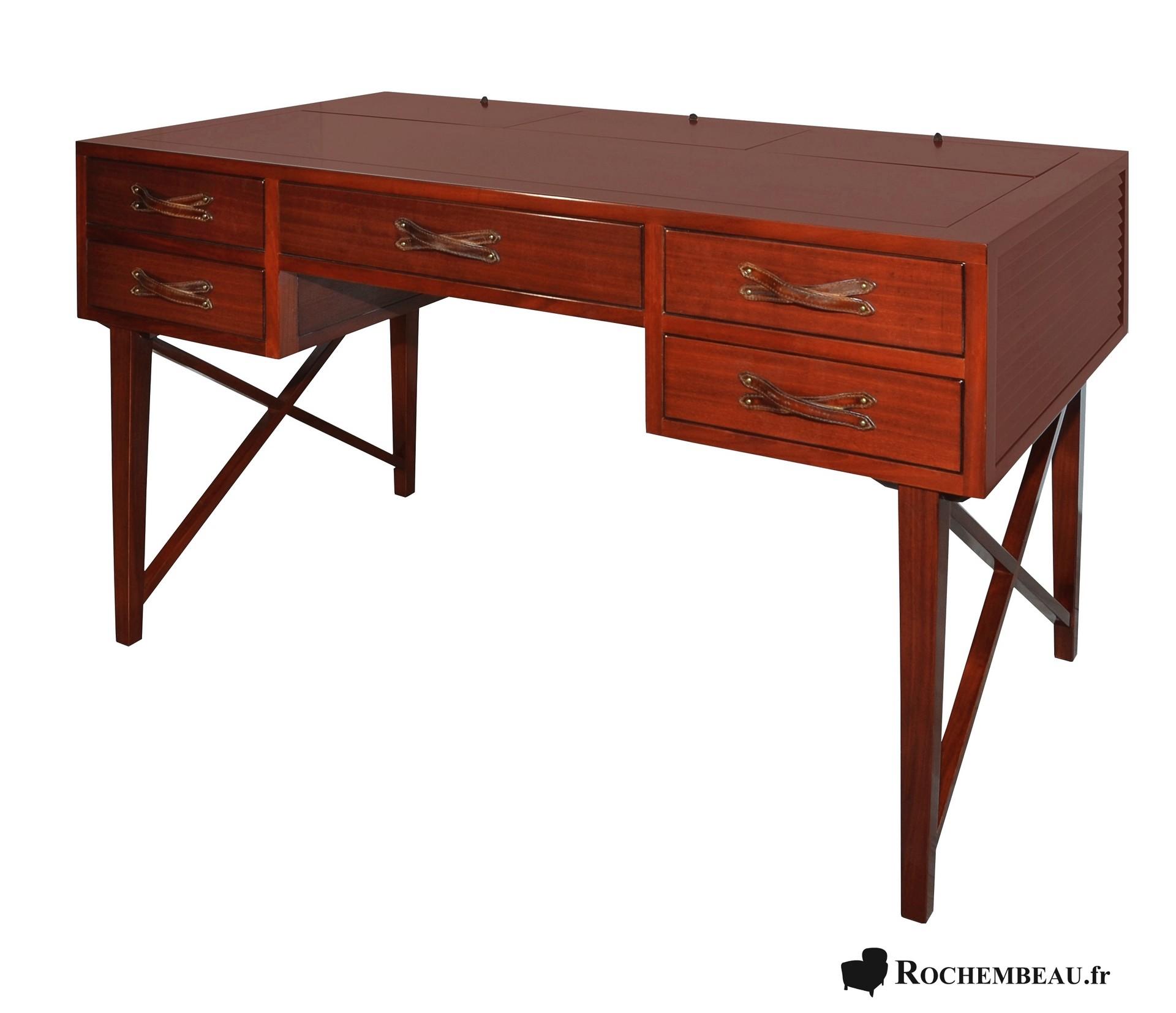 Meuble bureau bois massif marine vintage dessus cuir for Meuble de bureau 91