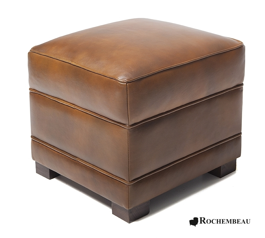 pouf carr en cuir 48 x 48 cm poufs rochembeau. Black Bedroom Furniture Sets. Home Design Ideas