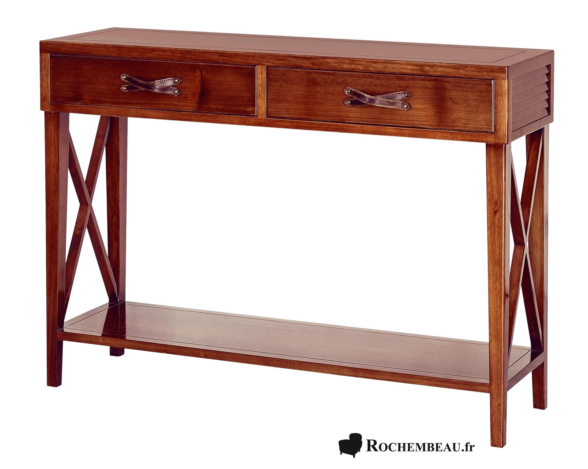 Meuble console tablette troite en bois massif avec for Meuble en cuir