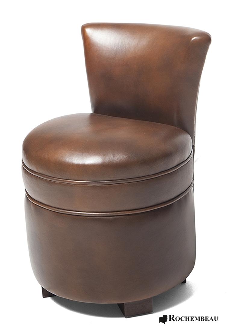 Pouf avec dossier en cuir poufs rochembeau - Pouf cuir marron chocolat ...