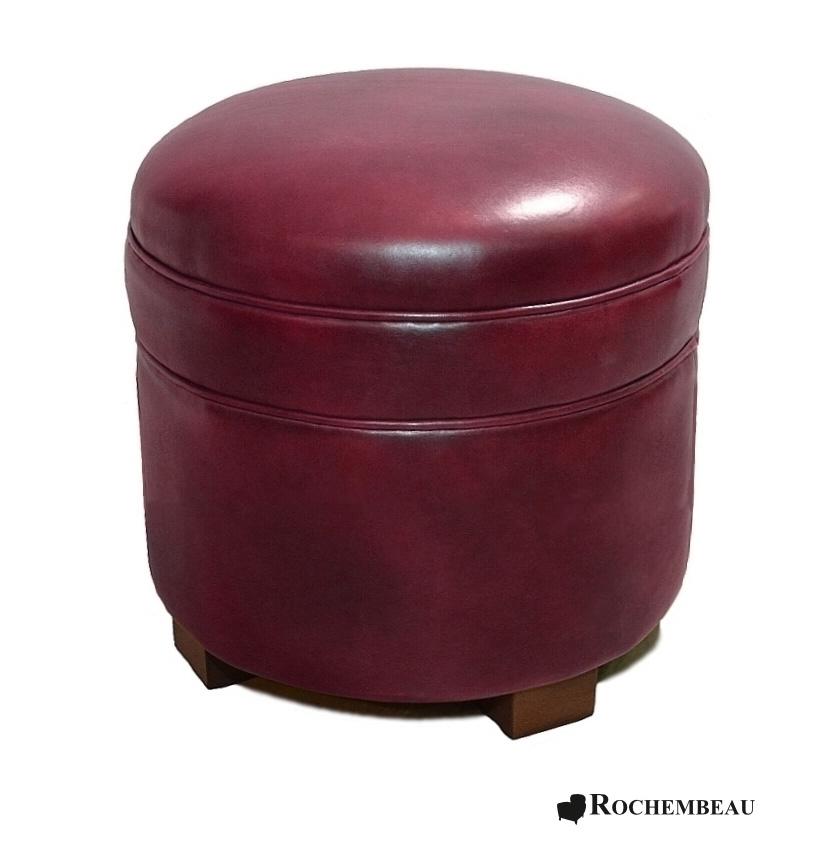 Pouf rond en cuir poufs en cuir pleine fleur - Couleur bordeau en anglais ...