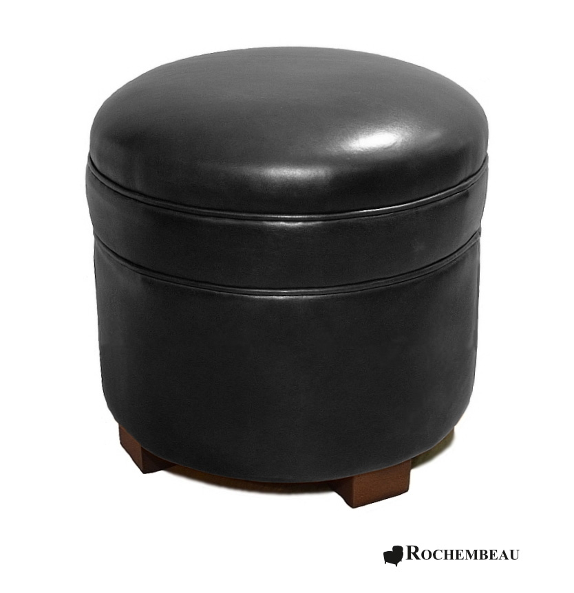 pouf rond en cuir poufs en cuir pleine fleur. Black Bedroom Furniture Sets. Home Design Ideas