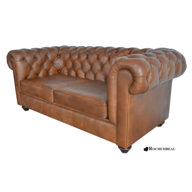 Canap s chesterfield en cuir pleine fleur cuir de mouton for Canape chesterfield cuir