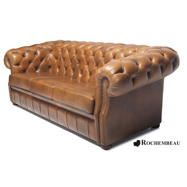 Canap s chesterfield en cuir pleine fleur cuir de mouton for Canape club cuir convertible