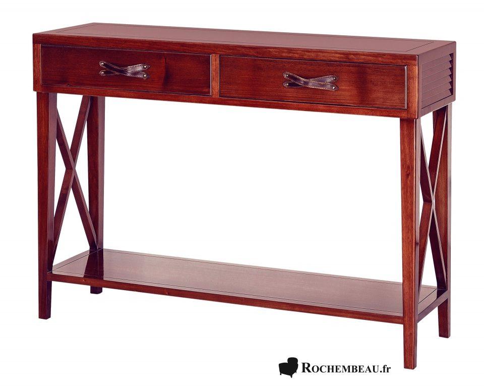 Meuble console tablette troite en bois massif avec for Entretien d un salon en cuir