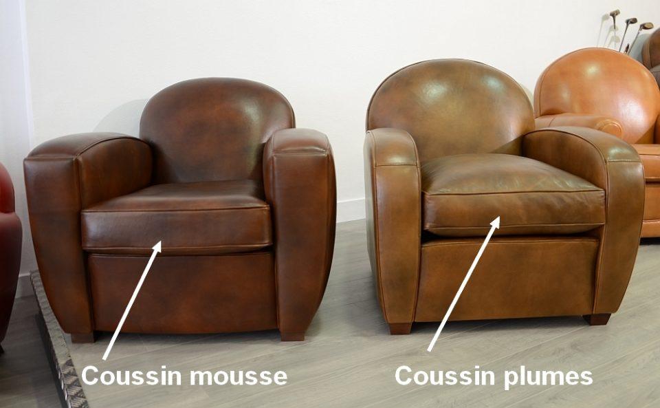 Coussin plumes pour fauteuil et canap club - Mousse coussin canape ...