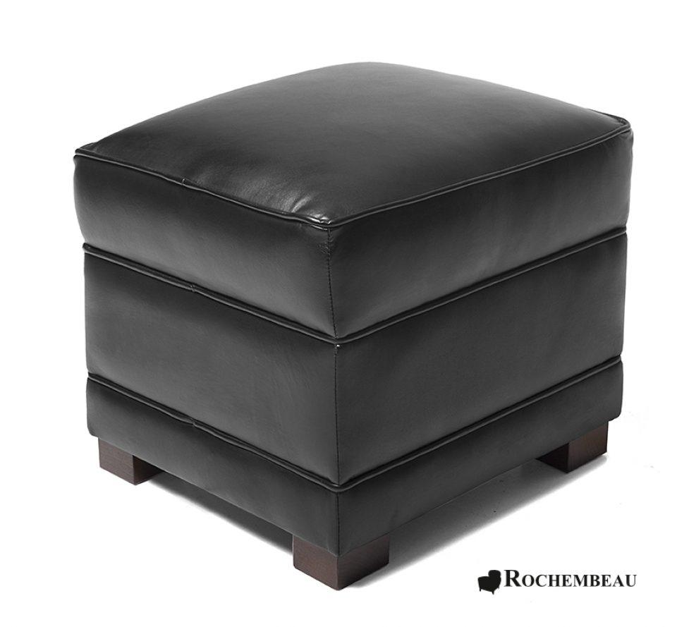 pouf carr en cuir 48 x 48 cm poufs rochembeau. Black Bedroom Furniture Sets. Home Design Ideas