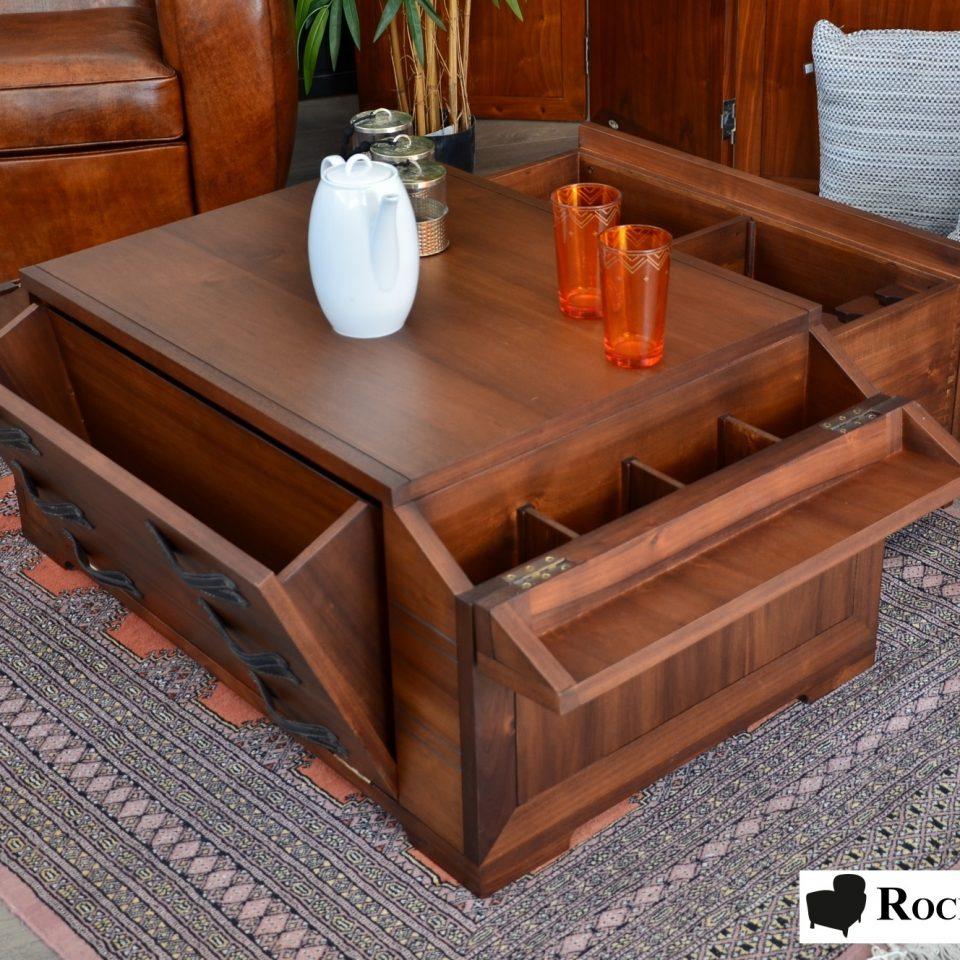 table basse bar de salon en bois massif. Black Bedroom Furniture Sets. Home Design Ideas