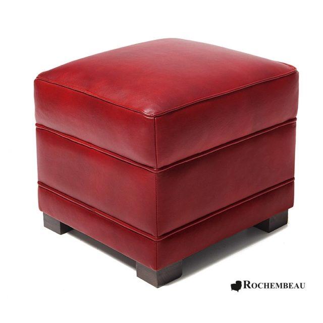 Pouf carr en cuir 48 x 48 cm poufs rochembeau for Pouf carre rouge